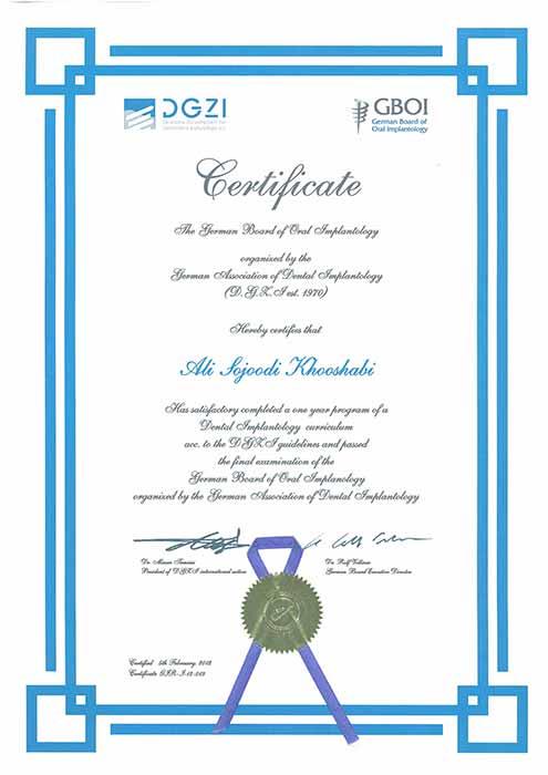 متخصص ایمپلنت دکتر علی سجودی - دوره GBZI و DGZI